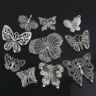10Pcs Tibetan Silver Mix Christmas Butterfly Charms Pendants Antique Silver