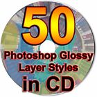 50 Photoshop Glossy Layer Styles PSD ASL File Graphic Text Pic Style Elements CD