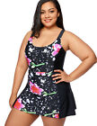 Women's Floral Print One Piece Swimwear Swimsuit Beachwear with Skirt