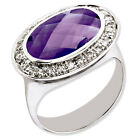925 Sterling Silver Amethyst and White Diamond Bezel Oval Cut Solitaire Ring