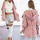 Womens Fashion Ladies Hooded Long Coat Jacket Trench Windbreaker Parka Outwear