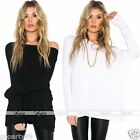 Women Winter Long Sleeve Blouse Casual Top Loose Off-Shoulder Crew Neck T Shirt