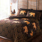 Indian Elephant Paisley Easycare Animal Duvet Quilt Cover Set, Black Gold Rust