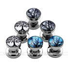 3Pair 6g-5/8'' Steel Celtic Life Tree Screw Ear Plugs Tunnels Expander Earlets