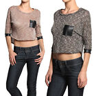 TheMogan Faux Leather Pocket Textured Knit Relaxed Crop Top Fashion T-Shirt