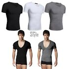 2016 NEW Casual Men Business Sexy Deep V Neck T-Shirts Silm Fit Undershirts UK