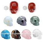 1.5''/2'' Gemstones Pendant Charms Sculptured Skull Ornament Decoration Gift Box