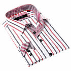 Coogi Men's White Dress Shirt with Red and Blue Stripes