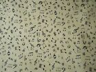 Musical Notes on Ivory Cream Fabric - 100% cotton 112/14cm wide