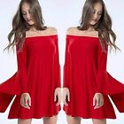 Off Shoulder RED Long Bell Sleeve Flowy Silky Knit Swing Dress Tunic S-L USA!!