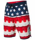 New O'NEILL boardshorts HYPERFREAK BEER PONG red white blue 30 32 34 36 38