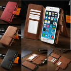 Genuine Leather Removable Wallet Card Zipper Case Cover For iPhone 7 & 6/6S Plus