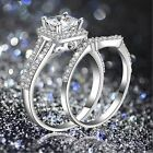2 PCS  Rhinestone Fashion Ring Set Silver Plated Wedding Jewelry Crystal