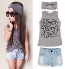 3pcs Toddler Kids Baby Girl Outfits Headband+Top T-shirt+Jeans Pants Clothes Set