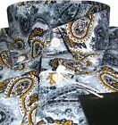 Mens Shirt Gold Navy Paisley Men's Button Down Long Sleeve Cotton Relco S-3XL