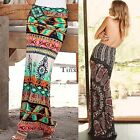 Summer Women Boho Tribal Floral Skirt Casual Stretch Beach Long Skirt Maxi TXCL