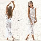 Women Hollow Out Maxi Backless Beach Slim Full Length Lace Long White Dress