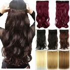 Real Thick One Piece Long Straight Curly Clip In Hair Extensions Fake Hair T43