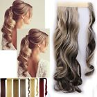 100% Real Human Love Clip In Hair Extension Pony Tail Wrap Around Ponytail NT2