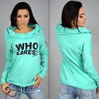 Fashion Women Clothing Blouses Who Letter Hooded Cotton Long Sleeve T-shirt Tops