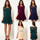 Women Casual Lace 3/4 Sleeve Dress Mini Ladies Party High waist Elegant TXCL