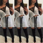 2PCS Crop Top With Skirts Women Girl Club Hollow Out Bandage Dress Clothes Set K