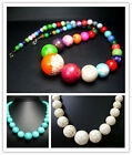 8-18mm,8-20mm,6-22mm Beautiful Turquoise Round Tower Bead Necklace 20""