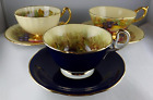 Trio (3) of Aynsley Bone China Cup Saucer Sets - D. Jones Orchard Motif
