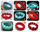 "Fashion Blue  Red Turquoise Beads Stretch Gemstone Bracelet 8"" BB02"