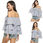 Fashion Womens Summer Off Shoulder Shirt Casual Blouse Loose Cotton Tops T Shirt