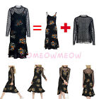 2in1 View Polka Dot Strap Floral Crew Neck Long Sleeve Vintage Casual SwingDress