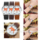 1pc Orange Fox Arabic Numerals Dial Strap Silvery Case Quartz Analogue Watch