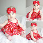 Newborn Baby Girl Party Dress Princess Kids Toddler Sleeveless Red Dress