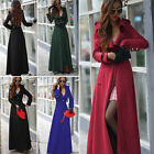 Women Girl Wool Blend Military Trench Best Belted One-Button Long Jacket Trendy