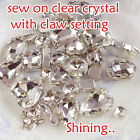 Glass Sew on clear MONTEES Faceted Crystals/Rhinestones/Diamantes/ Dress Making