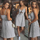 Ladies V Wrap Stripes Slim Fit Strap Sundress Summer Beach Party Cocktail Dress