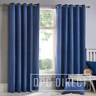 Pair of Plain Dyed 100% Cotton Eyelet Ring Top Lined Curtains, Denim Blue