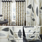 Pair of Leaves 100% Cotton Eyelet Ring Top Lined Curtains, Natural Charcoal Grey