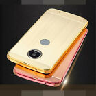 Aluminum Metal Bumper + Brushed PC Back Push-Pull Case Cover For Motorola Phones