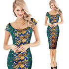 Women Elegant Flower Jacquard Fabric Party Cocktail Evening Bodycon Dress 3990