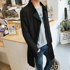 NEW Men Boys Spring Fashion Long Jacket Coat Long Sleeve Plus Size Black Parka