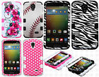 For LG Lucid 3 VS876 IMPACT TUFF HYBRID Case Skin Phone Covers + Screen Guard