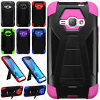 For Samsung Galaxy Luna Turbo Layer HYBRID KICKSTAND Rubber Case Phone Cover