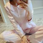 Women's Lapel Button Down Silk Long Sleeve Nightgown Sleepwear Pajamas Set