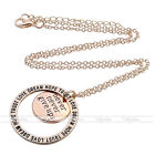 Women Round Aolly Silver Pendant Coordinate Alphabet Carved Necklace Jewelry New