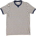 Edwin International T Shirt Striped Slub Off White Navy