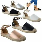 WOMENS LADIES FLAT LOW HEEL ANKLE STRAP STUDDED SUMMER ESPADRILLES SANDALS SIZE