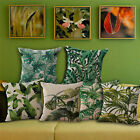 Floral Tropical Plant Leaves Pillow Case Cotton Linen Sofa Square Cushion Cover