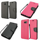 For Samsung Galaxy J3 EMERGE Carbon Fiber Wallet Pouch Flip Case + Screen Guard