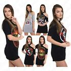 Womens Cold Cut Shoulder Born To Be Wild Slogan Printed Longline T Shirt Dress